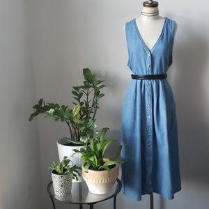 1990s Denim Button Up Midi Dress